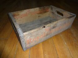 Vintage 1970's Wooden Soda Crate Royal Crown Cola Wood Box With Handles