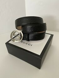 100% Authentic Men Gucci Black Leather Belt With Logo Size 36 38 $195.00