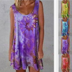 Womens V Neck Sleeveless Tie dye Print Summer Loose Dress Casual Beach Sundress $14.48