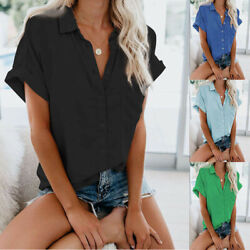 Womens Casual Short Sleeve Summer Button T Shirt Solid Plus Size Blouse Tops