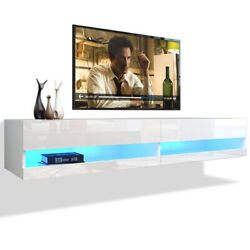 Wall Mounted Floating Tv Stand High Gloss 80 Tv Cabinet Console W/ Led Lights
