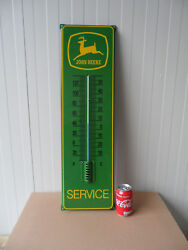 John Deere - Porcelain Enamel Advertising Sign With Thermometer 29.5 X 8.5 Inch