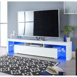 70 High Gloss Tv Unit Cabinet Stand W/led Light Shelves Drawers Home Furniture