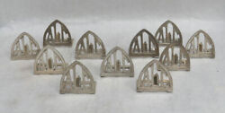 Vintage Set Of 12 Asymmetrical Sterling Silver Hand Hammered Place Card Holders