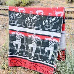 Camp Blanket Vintage Cowboy Rodeo Mint Condition Black Red Gray Rare