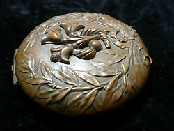 Antique Heavy Pressed Chinese Copper On Brass Flowers Leaves Trinket Snuff Box