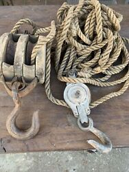 Vintage Block And Tackle Wooden And Metal Pulleys And Rope