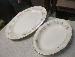 Wedgwood Mirabelle Pattern R4537 Oval Serving Platter And Bowl Set Lot Of 2