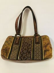 Fossil Tapestry Pocketbook With Brown Leather Straps Excellent Bag