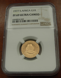 South Africa 1977 Gold 1 Rand Ngc Pf69uc