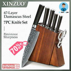 Xinzuo 7 Pcs Kitchen Knife Set Damascus Steel Meat Cleaver Chef Fruit Paring