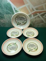 Lot Of 5 Excl For Himark Underglaze - Pasta Bowls - Made In Italy