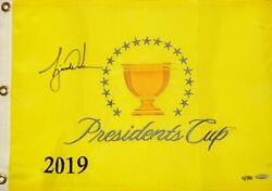 Autographed Uda Le500 Tiger Woods 2019 Presidents Cup Pin Flag