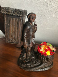 Vintage Black Forest 2 Tune Music Box Czech Fruit Lamp Tobacco Pipe Holder
