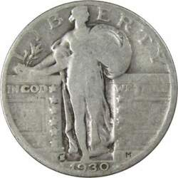 1930 S Standing Liberty Quarter Ag About Good 90 Silver 25c Us Type Coin