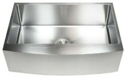 33 Stainless Steel Farmhouse Single Bowl Kitchen Sink Curved Front Apron