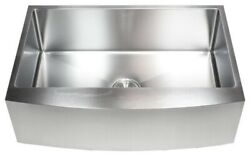 33 Stainless Steel Farmhouse Single Bowl Kitchen Sink Curved Front Apron 16g