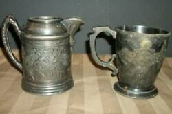 Victorian Silver Plate Etched Creamer And Cup French Farmhouse Tarnished