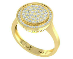 14k Gold Disk Ring Pave Diamond Womens Cocktail Ring 66 Natural Diamond 0.55 Tcw