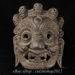 Old Tibetan Temple Wood Carved Skull Wrathful Mahakala Deity Buddha Mask Statue