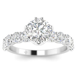 2.1ct D-si1 Diamond Unique Engagement Ring 18k White Gold Any Size