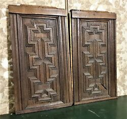 Pair Labyrnith Wood Carving Panel Antique French Salvaged Architectural Salvage