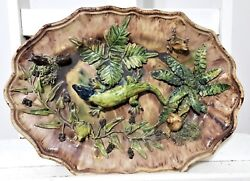 Palissy Majolica Lizard Antique French Rustiques Figulines Dish Pottery 19 Th