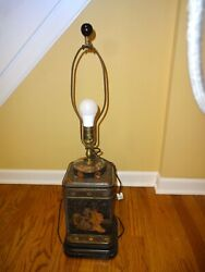 Antique Chinese Tea Tin Lamp 30 Tall By 8 Square Base Works Glass Finial