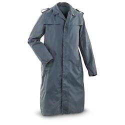 Vintage Menand039s German Military Raincoat Military Issue Trenchcoat Blue Used