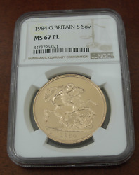 Great Britain 1984 Gold 5 Pounds Sovereigns Ngc Ms67 Proof Like