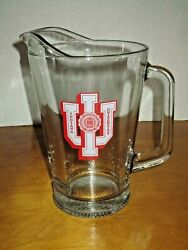 Rare, Vintage Indiana University Iu Glass Beer Pitcher 64oz. Excellent Condition