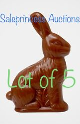 5 X Faux Chocolate Easter Bunny Treat Container Plastic Figure 6.25andrdquo Decor Fake