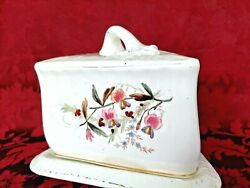 Antique Villeroy And Boch Ceramic Triangular Covered Cheese Butter Dish