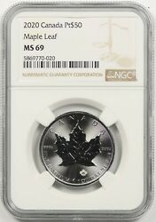 2020 Canada Maple Leaf Platinum 50 Ngc Ms 69 1 Oz .9995 Fine