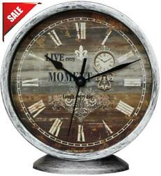 Classic Silent Desk Clock 6 Inch Non Ticking Decor Silver Wall Clocks Vintage