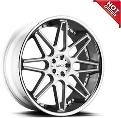 4ea 24inch Staggered Azad Wheels Az77 Brushed Face With Chrome Ss Lip Rimss6