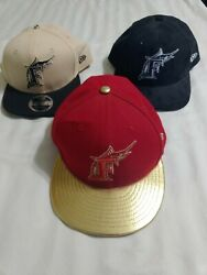 Lot Of 3 Miami Marlins 59fifty Snapback Hats Caps Red Golf Black Clean