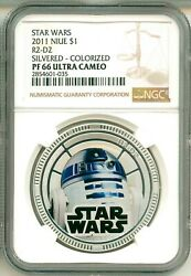 2011 Niue 1 Star Wars R2-d2 Silvered Colorized Ngc Pf66 Uc Ogp