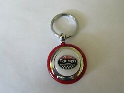 Triumph Motorcycle Motorcycles Vintage Logo Keychain White Logo Red Round