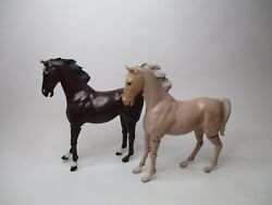 Vintage Louis Marx Johnny West Horses Thunderbolt Articulated Lot Of 2 Horses
