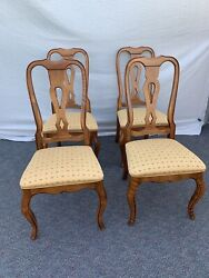 Vintage Set Of 4 Ethan Allen Distressed French Country Dining Chairs