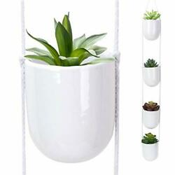 4 Tier Hanging Planter White Ceramic Wall Planters Decorative Plant White50