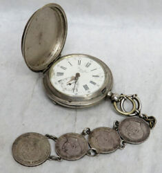 Antique Gustave Jacot Silver Key Wind Pocket Watch With Austrian Rare Coin Fob