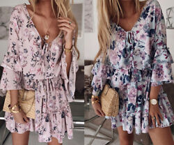 Women Lady Summer Sundress Short Floral Dress Boho Holiday Beach Party Cocktail $19.99