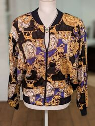 Vtg Papell Too Baroque Gold Watch Dog Bomber Jacket Womens Sz S Fresh 90s
