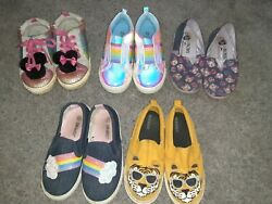 Girls Shoes Size 10/11 Lot Of 5 Used Cat Jack Old Navy Rainbow Minnie Mouse 💜🐭