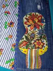 Up Cycled Mushroom Patch Patchwork Denim Distressed Jeans Skirt Sz 12