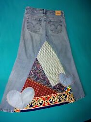 Reconstructed Levi's Vintage Patchwork Denim Jeans Skirt 32 Up Cycled Gnomes