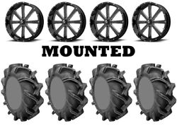 Kit 4 High Lifter Outlaw 3 Tires 33x9-18 On Msa M34 Flash Black Wheels Can
