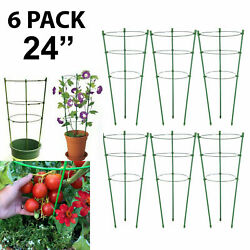 6 Pack Tomato Cages Stands 24 Plant Support Garden Trellis Tomatoes Rings